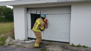Forcible entry on a garage door